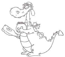 Outlined Dragon Leprechaun Holding A Mace And Pot Of Gold