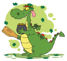 Dragon Leprechaun With Clovers, Holding A Mace And Pot Of Gold