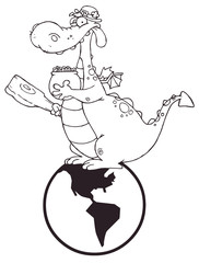 Outlined Dragon Leprechaun On A Globe