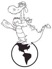 Outlined Dragon Leprechaun On A Globe