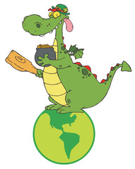 Dragon Leprechaun On A Globe, Holding A Mace And Pot Of Gold