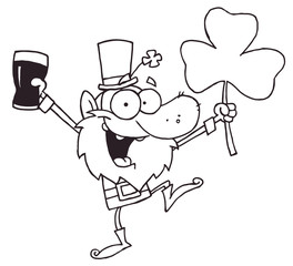 Outlined Dancing Leprechaun Holding A Clover And Beer