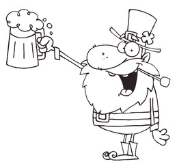 Outlined Leprechaun Toasting And Holding Up Beer