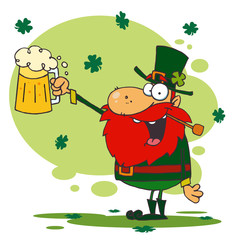 Toasting Leprechaun Holding Up A Pint Of Beer