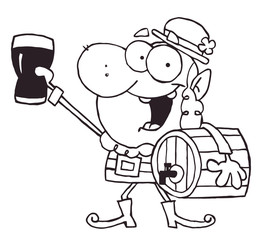 Outlined Leprechaun Carrying A Beer Keg And Holding Up A Glass
