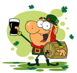 Leprechaun Toasting Carrying A Keg And Toasting With A Glass