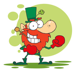 Leprechaun Boxing With A Pipe In His Mouth