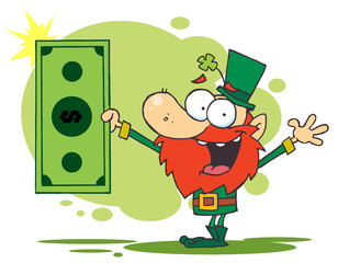 Rich Leprechaun Holding A Dollar Bill