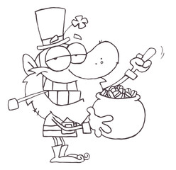 Outlined Leprechaun Holding Up His Middle Finger Of A Pot