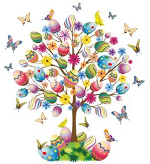 Pasqua Albero con Uova-Easter Tree With Eggs-Vector