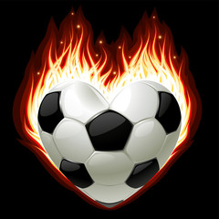 Vector football on fire in the shape of heart