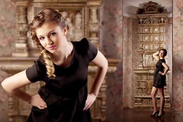 Luxury girl, amid the vintage interior