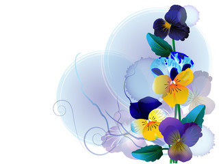 Floral composition in blue tone