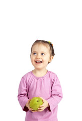 The child with an apple on the isolated white background