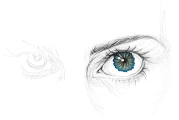 Eye with flower iris / realistic sketch (not auto-traced)