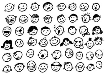 doodled funny stick figure faces