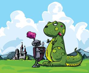 Spoed Foto op Canvas Ridders Cartoon of a knight facing a fierce dragon