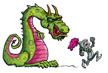 Cartoon of a knight running from a fierce dragon