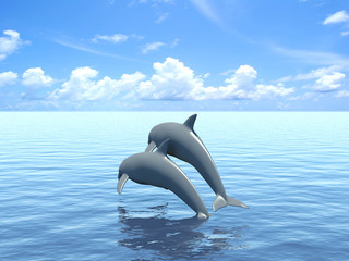 Photo sur Aluminium Dauphins Two dolphins floating in ocean.