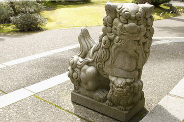 Japanese Stone Guardian Lion with Cub Sculpture