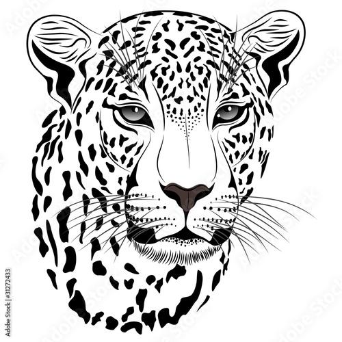 Black leopard tattoo face