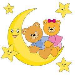 Wall Murals Bears Osos sentados encima de la luna