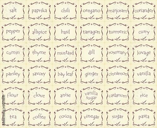 Naklejki Na Przyprawy Spice Labels Gewürz Etiketten 1