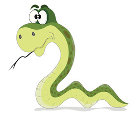 cartoon vector illustration of funny green snake