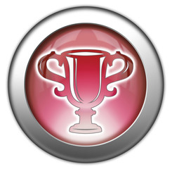 "Red glossy 3D effect button ""Award Cup"""