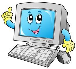 Cartoon smiling desktop computer