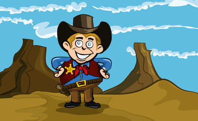 Door stickers Wild West Cute cartoon cowboy smiling