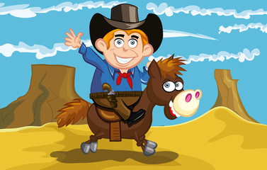 Printed kitchen splashbacks Wild West Cartoon cowboy on a horse