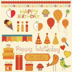 Retro Birthday Celebration Design Elements