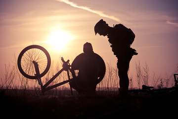 Bike repair on the trail