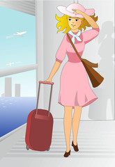 Romantic woman travels