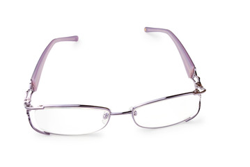 lilac eye glasses isolated on a white background