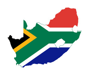 South Africa flag on country map