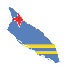 Fototapete - Aruba flag on map