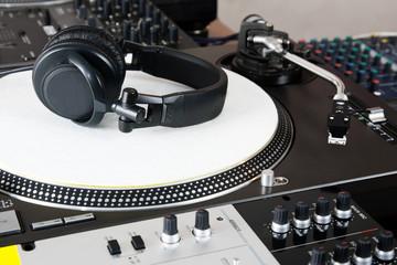 Headphones, mixer and turntable