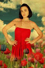 beauty young woman in red dress