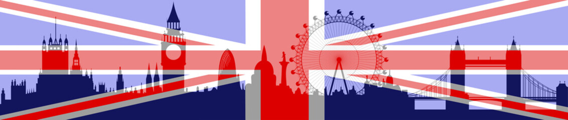London skyline with flag - vector