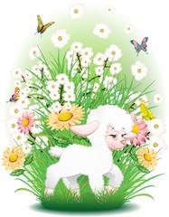 Agnello Cartoon-Cute Easter Sheep Background-Vector