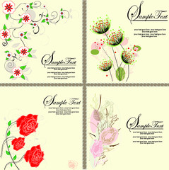 SET OF FOUR CARD WITH FLORAL BACKGROUND