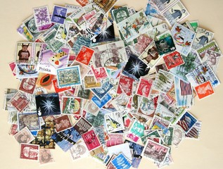 Hundreds of international postage stamps