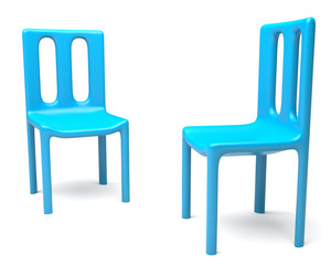 Two chairs isolated on white background