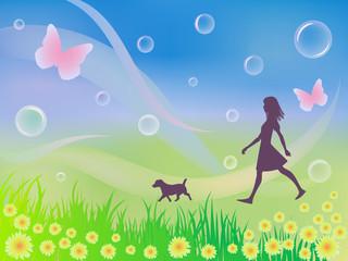 Tuinposter Honden 春の散歩風景