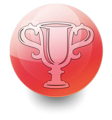 """Red Shiny Orb Button """"Award Cup"""""""