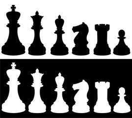 silhouette of chess pieces - vector