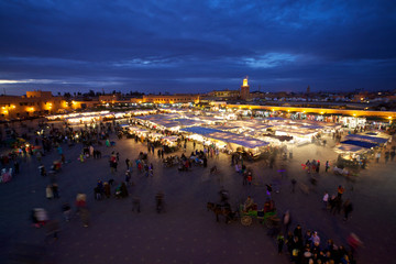 Marrakesh Djemaa el Fna place at dusk (Morocco)