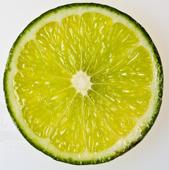 lime slice on white background